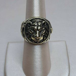 HZMAN Men's Stainless Steel Gold Finish Ring Lion
